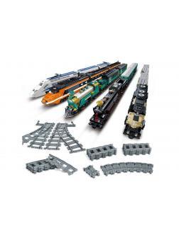Конструктор KAZI «Рельсы гибкие и прямые пути для поезда 98215-2» (City 7499), 24 детали