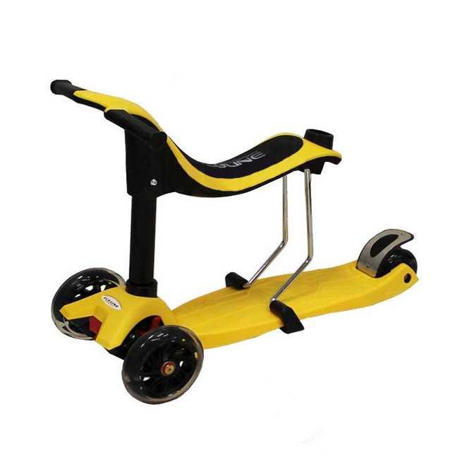 Самокат-каталка ONEX 3D PIC 3 в 1 Желтый с ручкой для родителей
