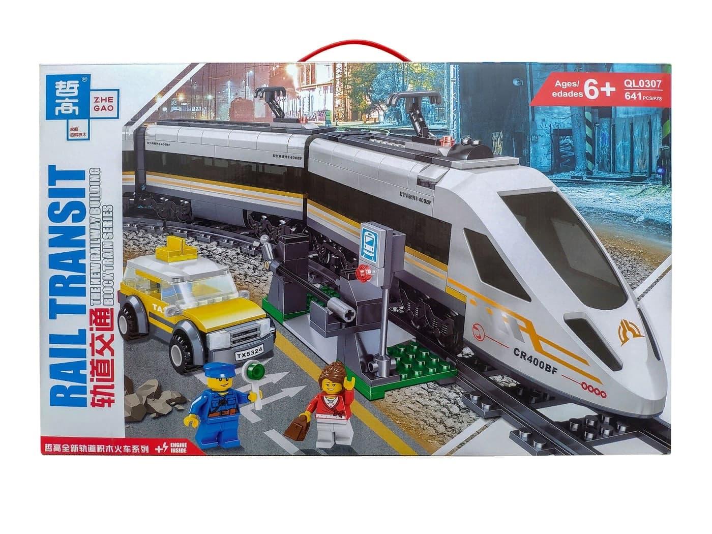 Конструктор Zhe Gao «Скоростной поезд» на аккумуляторе QL0307 / 641 деталь