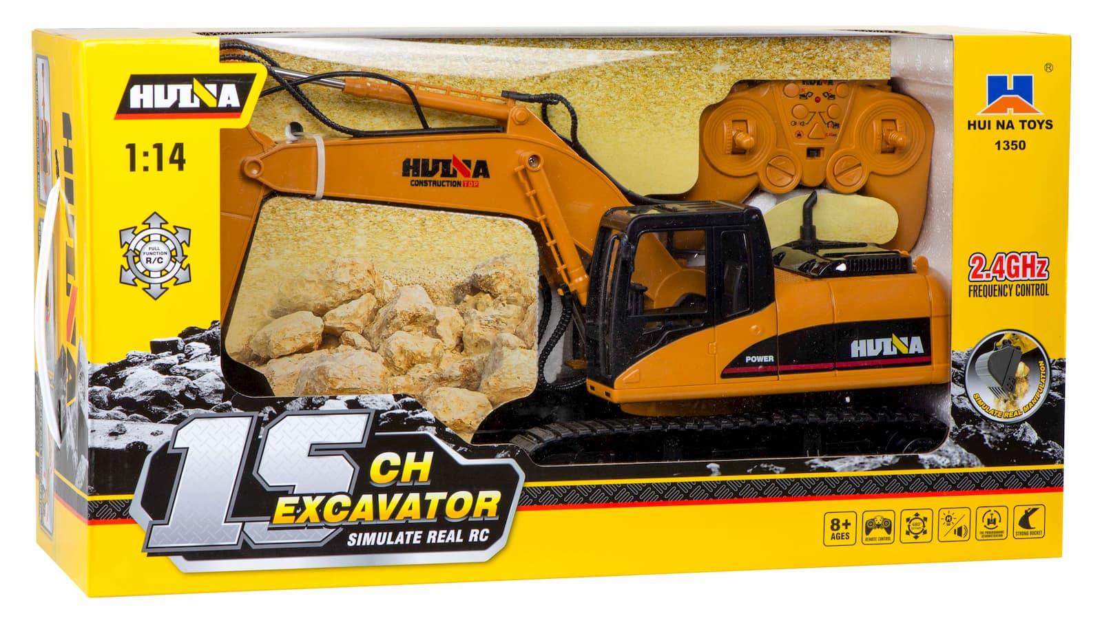 Радиоуправляемый гусеничный экскаватор Hui Na Toys 1:11 «Caterpillar» 1350, 2.4G, металлический