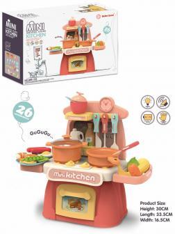 Детская игровая кухня Beibe Good «Mini Kitchen» 889-174 с водой, высота 36 см. /  26 предметов