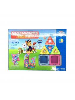 Разноцветный Магнитный конструктор «Щенячий Патруль» JH6869C / 80 деталей