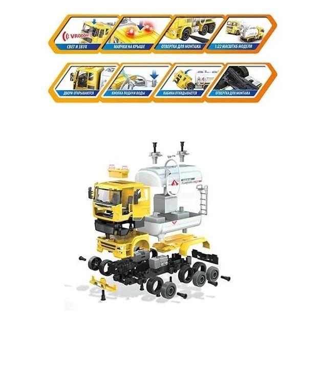 Конструктор с отверткой Play Smart Автомонтаж  «Бензовоз» 1394, 88 деталей, свет и звук