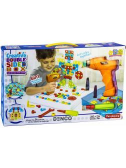 Развивающий Детский конструктор с шуруповертом и мозаикой Creative Double Sided Box 6 в 1 261 деталь