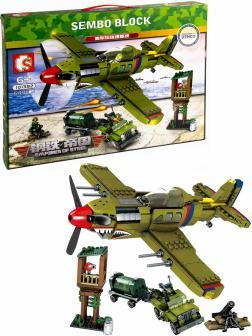 Конструктор Sembo Block «Перл-Харбор: Военный самолет, машина, вышка» 101382 / 649 деталей