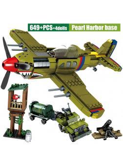 Конструктор Sembo Block «Военный самолет, машина, вышка» 101382 / 649 деталей