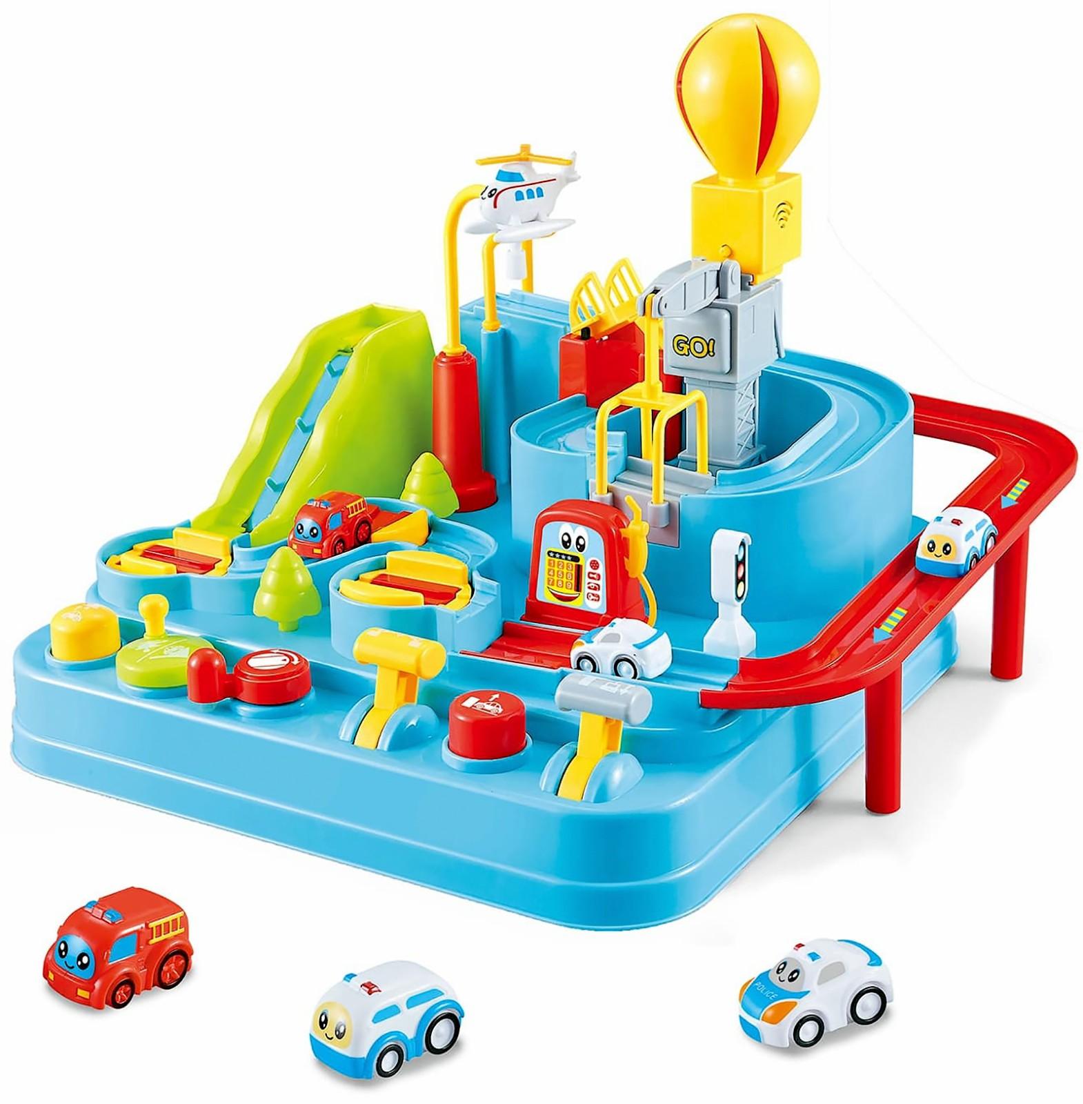 Детский инерционный трек-головоломка «Отряд спасения / Rescue Go City» 9998 с машинками и вертолетом