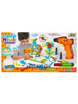 Развивающий Детский конструктор с шуруповертом и мозаикой Creative Mosaic 4 в 1 237 деталей