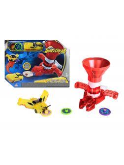 Бластер для дисков красный и машинка 1 уровня Дикие Скричеры игровой набор (Screechers Wild)
