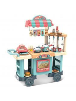Детская кухня-киоск быстрого питания на колесах, 42 аксессуара, высота 80 см / Fast Food
