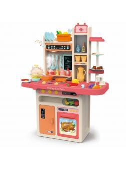 Детская игровая интерактивная кухня Modern Kitchen 889-162, с водой, с паром, 65 аксессуаров, высота 94 см. / Розовая