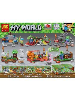 Минифигурки Ll «Прозрачные фигурки с постройками» 33264 (Minecraft) 377 деталей