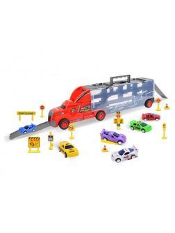 Автовоз красный и 6 машинок с дорожными знаками (Хот Вилс) 8820-R