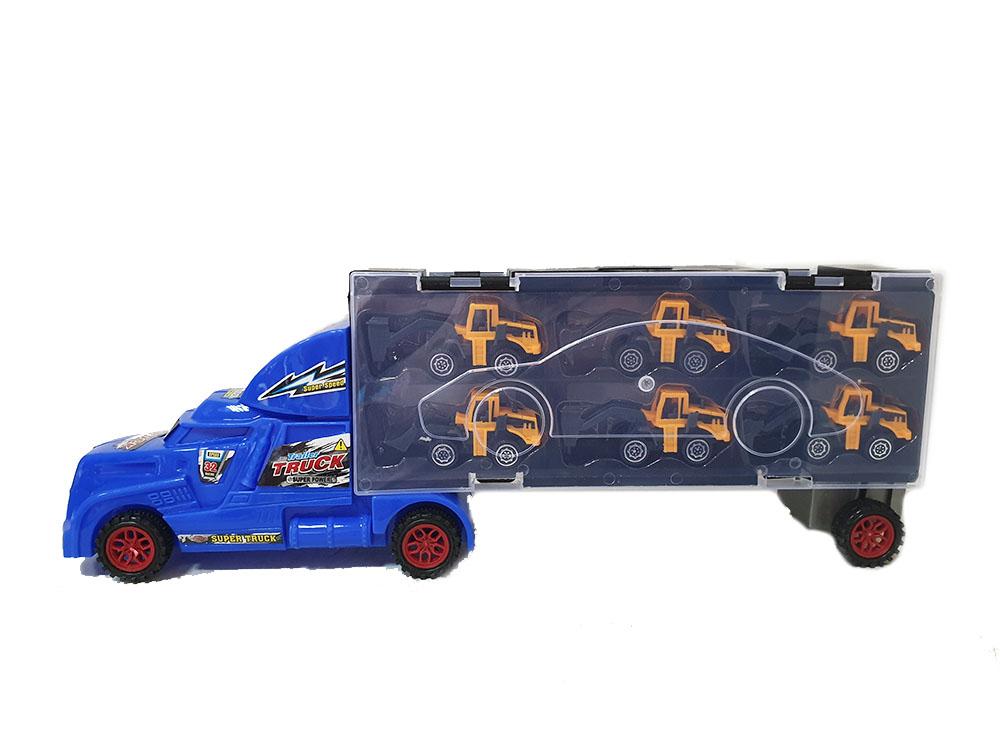 Автовоз синий и 6 машинок спецтехники (Хот Вилс) SC-91-B