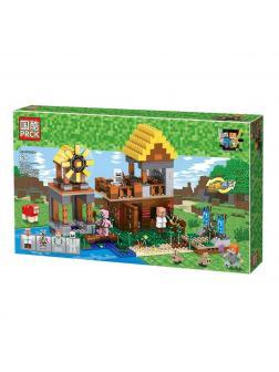 Конструктор PRCK (Ll) MY WORLD «Домик фермера с мельницей» 2 в 1 63031 (Minecraft), 608 деталей