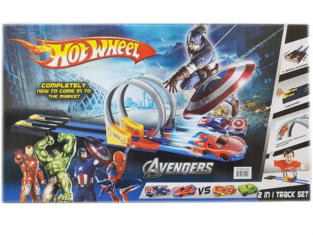 Игровой набор Автотрек «Спайдермен против Капитана Америки»