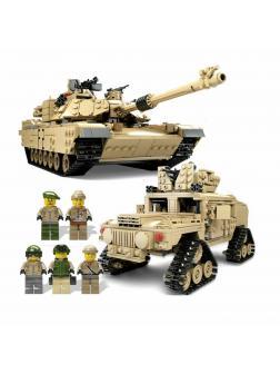 Конструктор Kazi 2 в 1 «Танк M1A2 Abrams и Hammer» KY10000 / 1463 детали