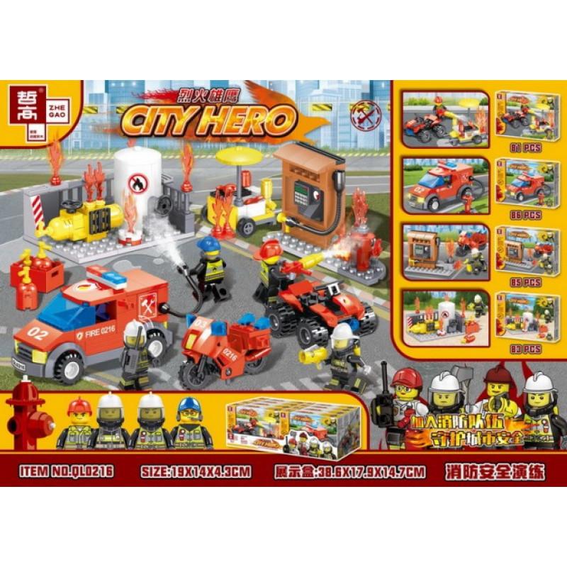 Конструктор ZHEGAO «Борьба с огнем» QL0216 (City) комплект 4 шт.