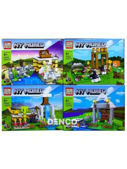 Конструктор PRCK «Постройки в долине» 63044 (Minecraft) комплект 8 шт. 4 вида