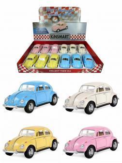 Металлическая машинка Kinsmart 1:32 «1967 Volkswagen Classical Beetle (Пастельные цвета)» KT5375D инерционная / Микс