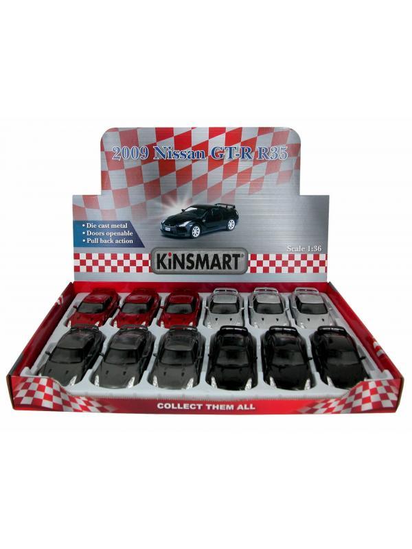 Металлическая машинка Kinsmart 1:36 «2009 Nissan GT-R R35» KT5340D инерционная / Микс