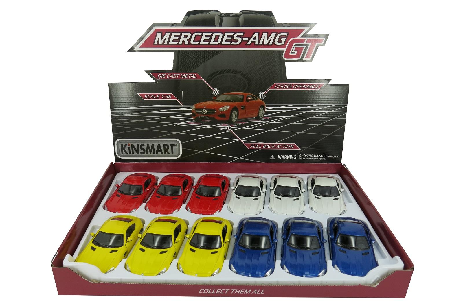 Металлическая машинка Kinsmart 1:36 «Mercedes-AMG GT» KT5388D, инерционная / Микс