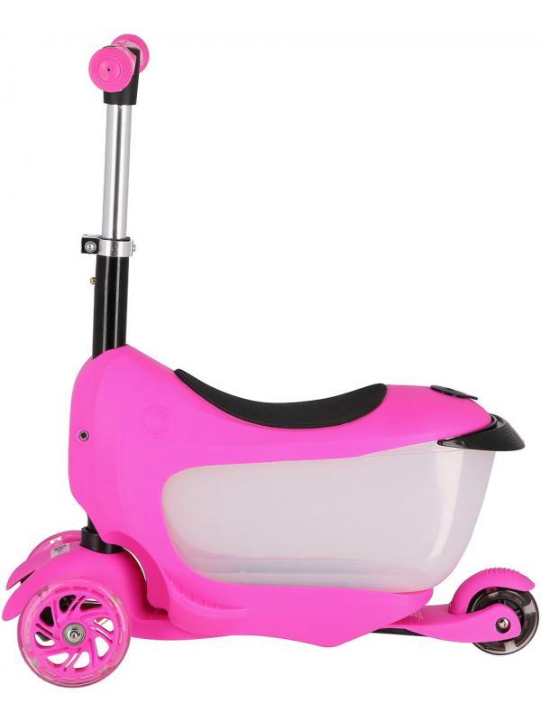 Каталка - самокат Scooter с контейнером для игрушек (Т02600) / Розовый