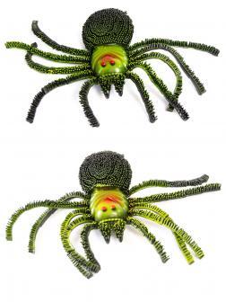 Игрушка Насекомое-тянучка Зеленый Пауки с пищалкой 15 см.  Зеленый 9916W / 2 шт.