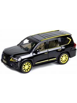 Металлическая машинка XLG 1:24 «Lexus LX570» 20 см. А929Х инерционная, свет, звук / Черно-золотой