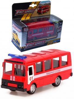 Металлическая машинка Play Smart 1:52 «ПАЗ 3237 Пожарная служба» 12 см. 6523-A Автопарк, инерционная