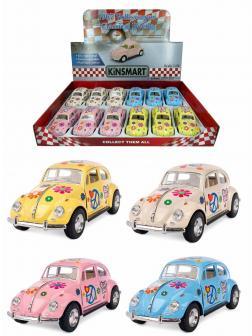 Металлическая машинка Kinsmart 1:32 «1967 Volkswagen Classical Beetle (Пастельные цвета с принтом)» KT5375DF инерционная / Микс