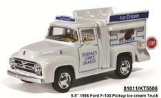 Машинка металлическая Ford F-100 Pickup 1956 г. Ice Cream 1:38, инерционная / Kinsmart