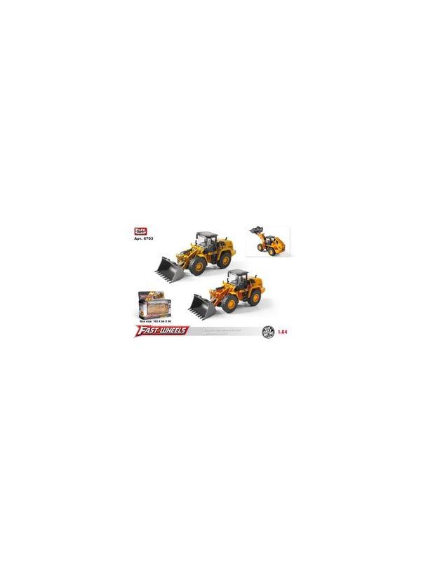 Металлическая машинка Play Smart 1:55 «Бульдозер с ковшом» 6703 Fast Wheels