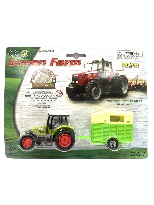 Машинка металлическая Green Farm «Трактор сельскохозяйственным с прицепом» 402  / Микс