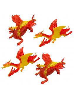 Фигурки-тянучки Драконы 4 шт., из термопластичной резины 12-14 см., НА037