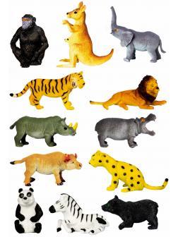 Фигурки животных-тянучек  «Дикие животные Мира» НА045Р 6-8 см. / 12 штук
