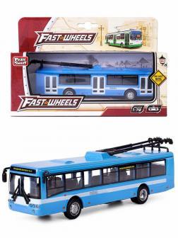 Металлический троллейбус Play Smart 1:72 «ЛиАЗ-5292» 16 см. 6407-B Автопарк / Сине-белый