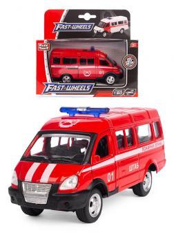 Металлическая машинка Play Smart 1:50 «Газ-3231 Микроавтобус Пожарной охраны» 10 см. 6404-E Автопарк, инерционный