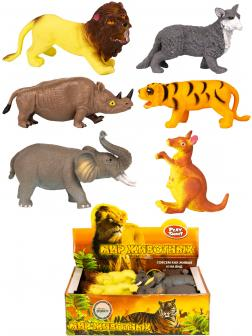 Фигурки животных-тянучек Nature World «Джунгли» НА159 10-12 см. /  6 штук