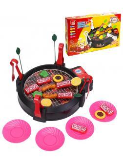 Игровой набор Детский гриль для барбекю, набор для приготовления еды со звуковыми эффектами