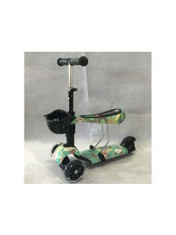 Самокат с корзинкой и сиденьем Scooter 3в1 Print (Т01220)