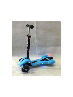 Самокат детский со светом и звуком Scooter (Т01213) / Голубой