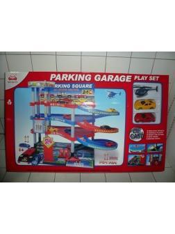 Парковка-гараж многоярусный с машинками и вертолётом в коробке
