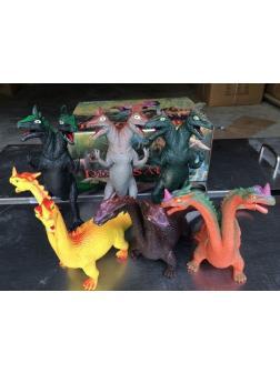 Животные резиновые Динозавры двуглавые в упаковке 6 шт 30х24х13см
