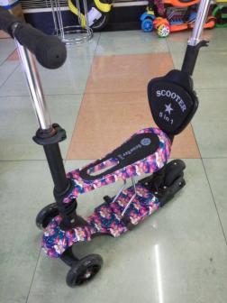 Самокат детский Scooter «Print» 5 в 1 со светом и музыкой