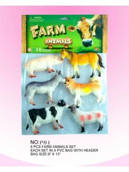 Набор фигурок Домашние животные в пакете 6шт 33х23х6см