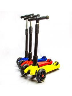 Детский складной кикборд Scooter «MAXI» со светящимися колесами (SL-9) / Микс