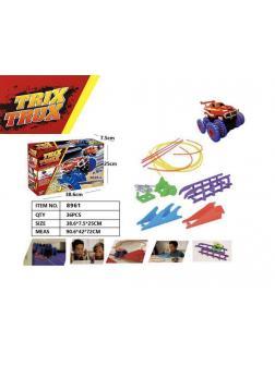 Гоночные машинки Монстр-Трак Trix Truk с трассой, трамплин волна тросс брусья в кор. 38.6х7.5х25см.
