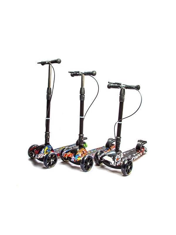 Самокат детский складной Scooter «MAXI Принт» с ручным тормозом (Y100) / Микс