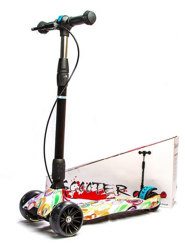 Самокат детский складной Scooter «MAXI Принт» с ручным тормозом и широкими колесами (XJ-333) / Микс
